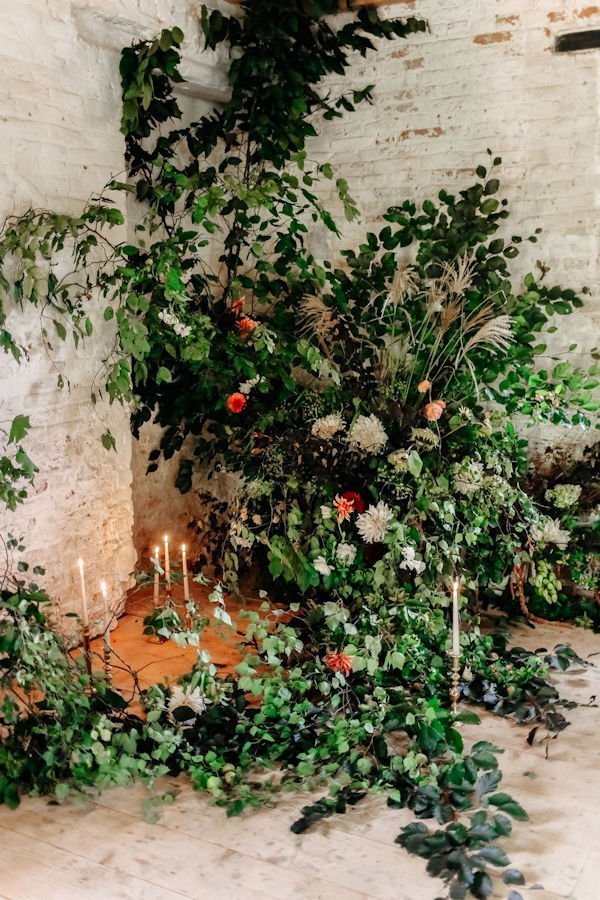 Large wedding flower installation in a natural theme | Limewood Flowers | Lincolnshire wedding florist | Event florist | eco florist