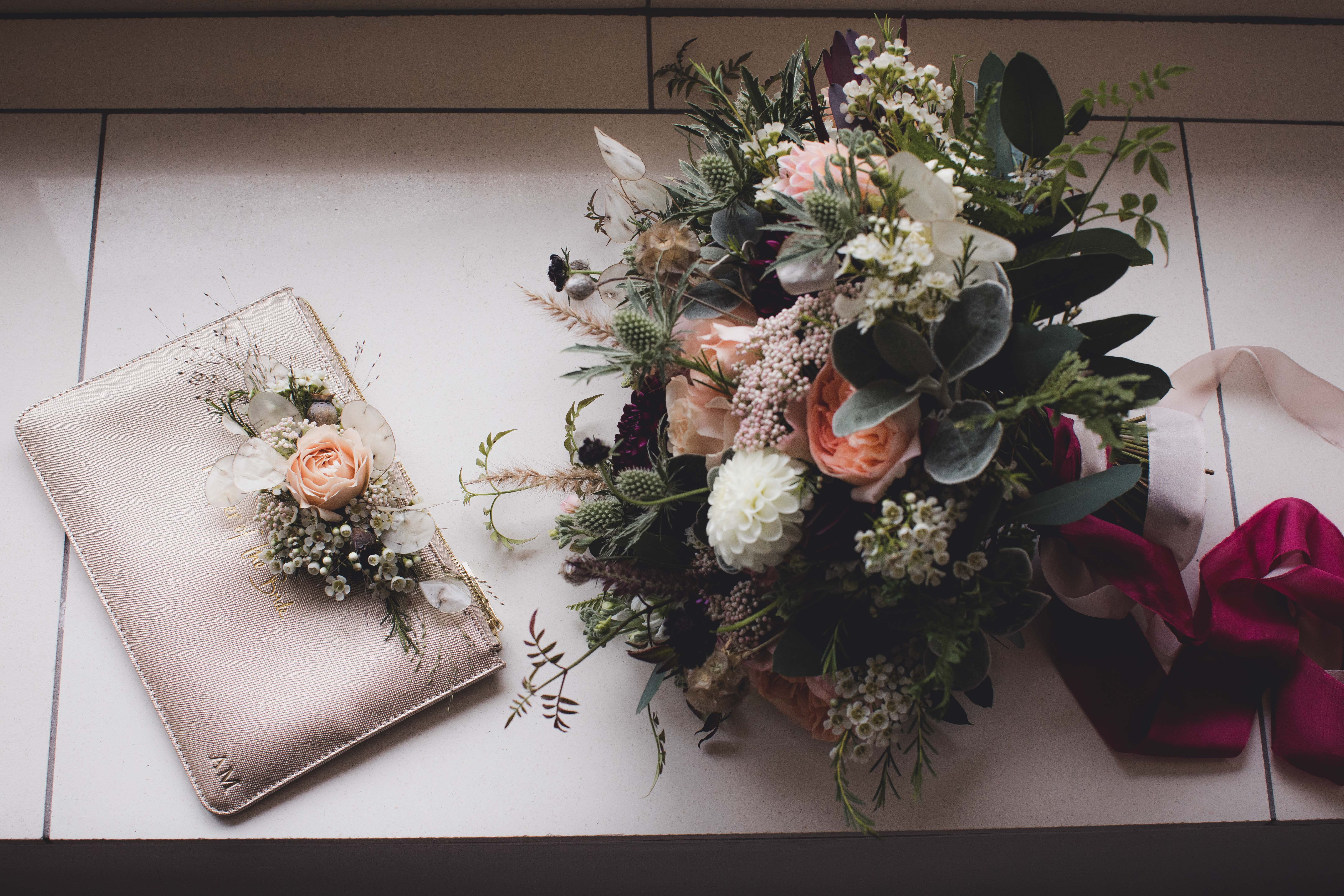 Natural autumn bridal bouquet and Mum's handbag corsage